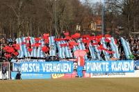 Provokante Choreographie der Fans des SV Babelsberg 03 beim Spiel gegen den Chemnitzer FC