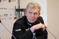 Babelsbergs Trainer Dietmar Demuth auf der Pressekonferenz