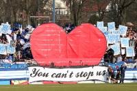 Choreographie der Ultras / Fans des SV Babelsberg beim Heimspiel gegen den FC Carl Zeiss Jena