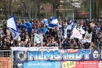 Anhänger des SV Babelsberg 03 in Vorfreude auf die Partie gegen VfR Aalen