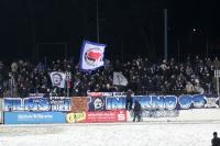 Fans / Ultras des SV Babelsberg 03 beim Heimspiel gegen Preußen Münster bei klirrender Kälte