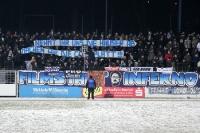 politisches Spruchband im Block des Filmstadtinferno 99 im Karl-Liebknecht-Stadion des SVB 03