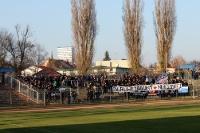 Fans / Ultras des SV Babelsberg 03 beim Auswärtsspiel in Frankfurt / Oder