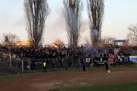 Fans / Ultras des SV Babelsberg 03 zündeln im Stadion der Freundschaft in Frankfurt / Oder