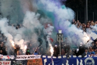 Reichlich Pyrotechnik beim Spiel Babelsberg 03 vs. FC St. Pauli