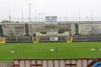 Alte Westkurve mit manueller Anzeigetafel, Grünwalder Stadion in München