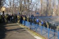 Polizei im Einsatz: Stadion der Freundschaft beim Pokalspiel Viktoria Frankfurt - Babelsberg 03