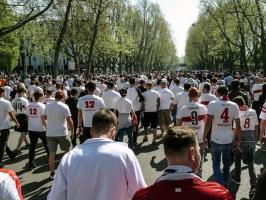 Marsch der VfB Stuttgart Fans