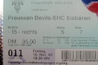 Ticket Preussen Devils - EHC Eisbären Berlin, 10. November 1995