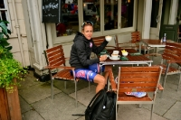 Kristin Armstrong in einem Café in London bei Olympia 2012