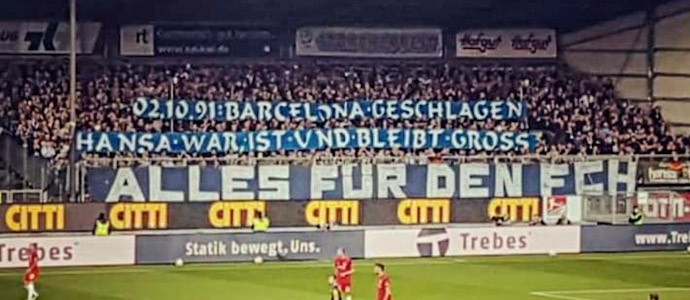 Hansa ist groß! 2.10.1991: Sieg gegen Barcelona! 2.10.2021: Sieg in Kiel!