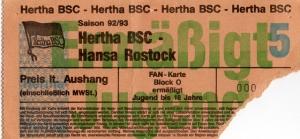 Hertha BSC vs. Hansa Rostock: Erinnerungen ans erste Duell im Olympiastadion im März 1993